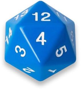 20-zijdige Dobbelsteen - 55mm Blauw