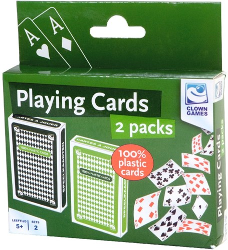 Clown Speelkaarten 100% plastic (2 stuks)