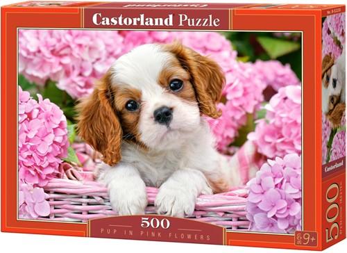 Pup in Pink Flowers Puzzel (500 stukjes)