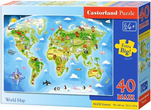 World Map Puzzel (40 MAXI stukjes)