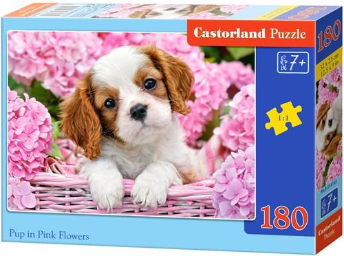 Pup in Pink Flowers Puzzel (180 stukjes)
