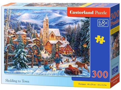 Sledding in Town Puzzel (300 stukjes)