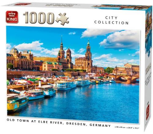 Old Town at Elbe River, Dresden Puzzel (1000 stukjes)