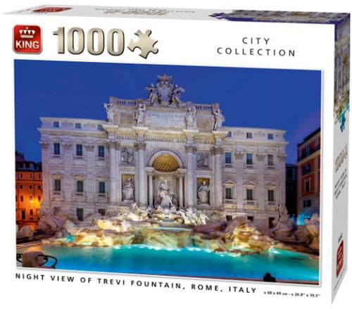 Night View of Trevi Fountain, Rome Puzzel (1000 stukjes)