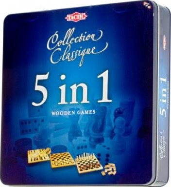 5 in 1 Wooden Games (Tin Box)