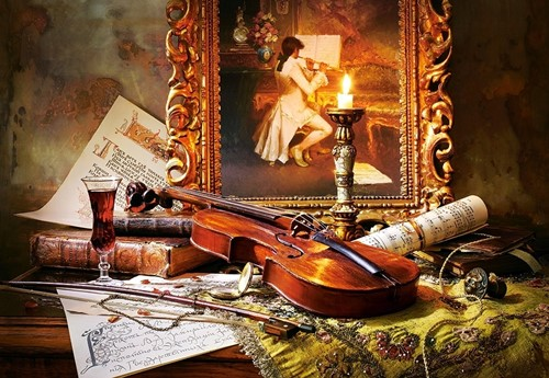 Still Life With Violin And Painting Puzzel (1000 stukjes)-2