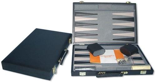 Backgammon Koffer Zwart effen (38 cm)