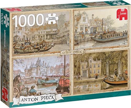 Anton Pieck - Boten in de Gracht Puzzel (1000 stukjes)