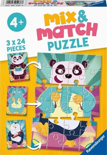 Mix & Match - Rockende Dieren Puzzel (3 x 24 stukjes)