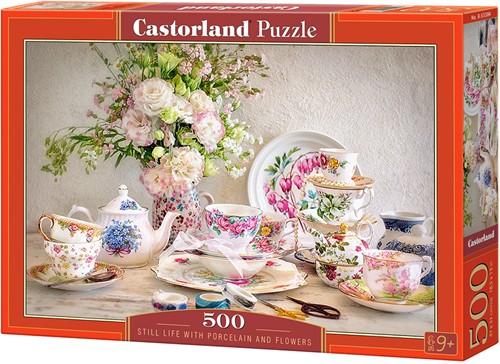 Still Life with Porcelain and Flowers Puzzel (500 stukjes)