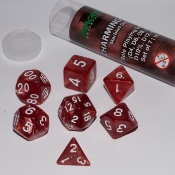 Polydice Marble Dobbelstenen 16mm - Charming Red (7 stuks)