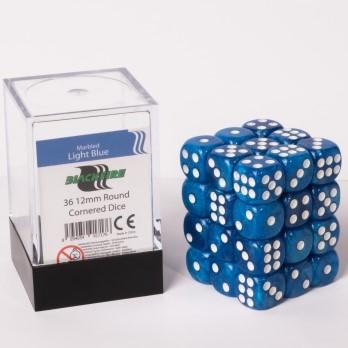 Marble Dobbelstenen 12mm - Lichtblauw (36 stuks)