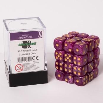 Marble Dobbelstenen 12mm - Paars/Goud (36 stuks)