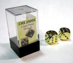 Gold-Plated Metallic 16mm Dobbelstenen (2 stuks)