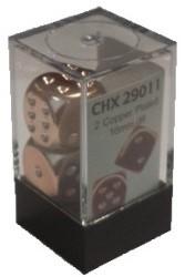 Copper-Plated Metallic Dobbelstenen 16mm (2 stuks)