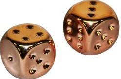 Copper-Plated Metallic 16mm Dobbelstenen (2 stuks)