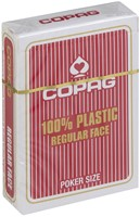 Speelkaarten - Copag 100% Plastic Poker Normal Faces Rood-1