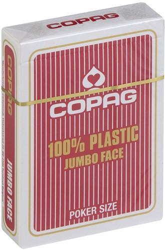 Speelkaarten - Copag 100% Plastic Poker Jumbo Faces Rood