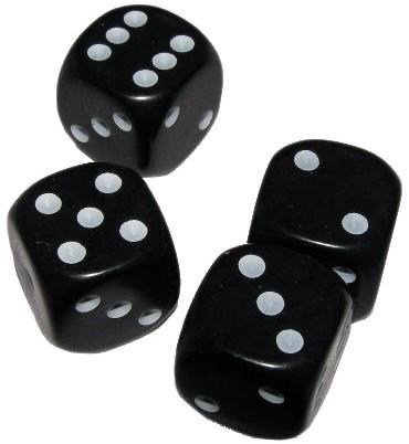 Set van 4 Dobbelstenen Zwart
