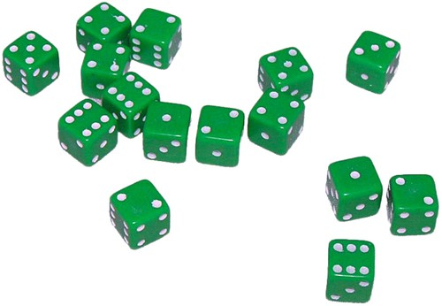 Mini Dobbelstenen 7 mm - Groen (15 stuks)