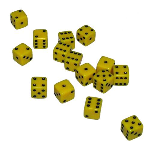 Mini Dobbelstenen 7 mm - Geel (15 stuks)