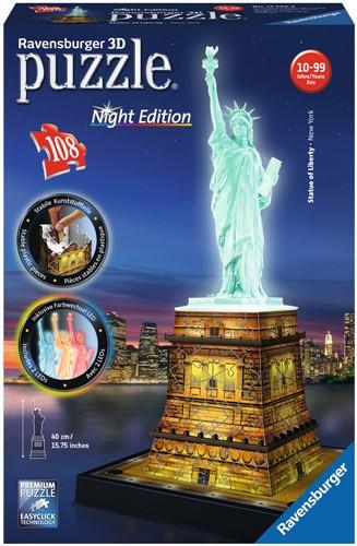 3D Puzzel - Statue of Liberty - Night Edition (108 stukjes)-1