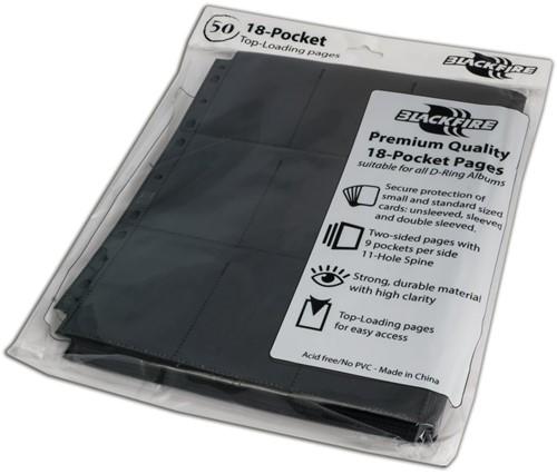 Blackfire 18-Pocket Pages - Black - Top Loading (50 stuks)-2