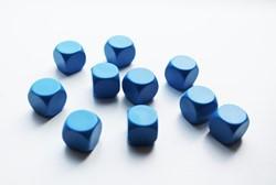 Blanco Dobbelstenen 16mm Blauw (10 stuks)