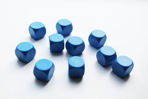 Blanco Dobbelstenen 16mm - Blauw (10 stuks)