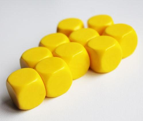 Blanco Dobbelstenen 16mm - Geel (10 stuks)