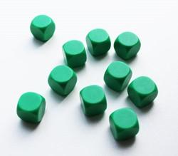 Blanco Dobbelstenen 16mm - Groen (10 stuks)