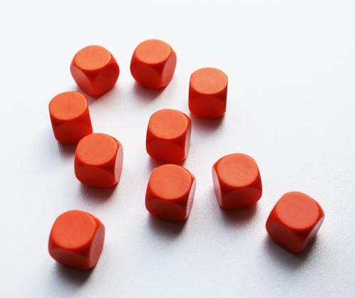 Blanco Dobbelstenen 16mm - Oranje (10 stuks)