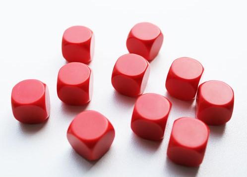 Blanco Dobbelstenen 16mm - Rood (10 stuks)