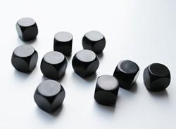 Blanco Dobbelstenen 16mm - Zwart (10 stuks)