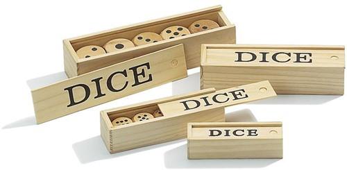 Set van 5 houten dobbelstenen 25mm
