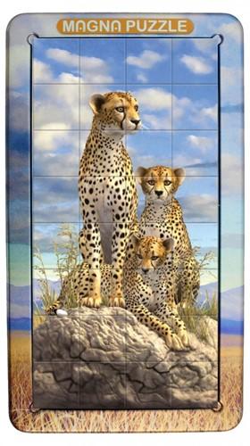 Magnetische 3D Portret Puzzel - Jachtluipaarden (32 stukjes)