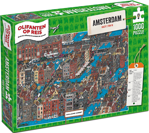 Olifanten op Reis - Amsterdam Puzzel (1000 stukjes)