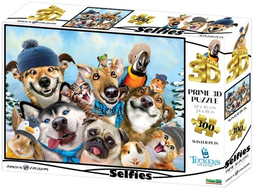 3D Image Puzzel - Winter Pets Selfie (300 stukjes)