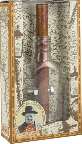 Great Minds - Churchills cigar and whisky bottle