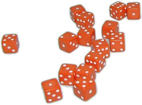 Mini Dobbelstenen 7 mm - Oranje (15 stuks)