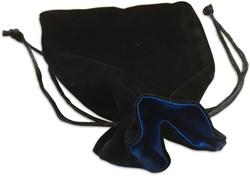 Dobbelsteenzakje Fluweel - Zwart met Blauw