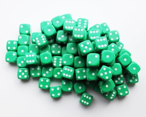 Dobbelstenen 16mm - Groen (100 stuks)