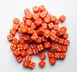 Dobbelstenen 16mm - Oranje (100 stuks)