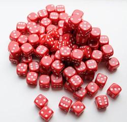Dobbelstenen 16mm - Rood (100 stuks)