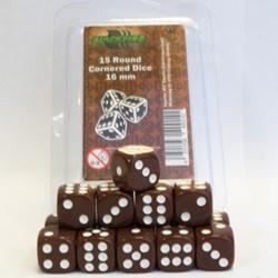 Dobbelstenen 16mm - Bruin (15 stuks)