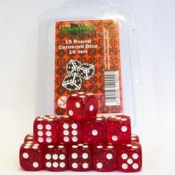 Dobbelstenen 16mm - Glitte Rood (15 stuks)