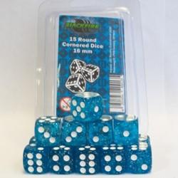 Dobbelstenen 16mm - Glitter Blauw (15 stuks)