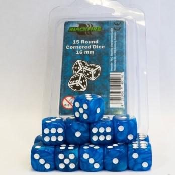 Dobbelstenen 16mm - Marble Blauw (15 stuks)