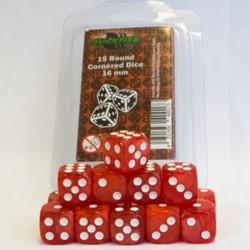 Dobbelstenen 16mm - Marble Rood (15 stuks)