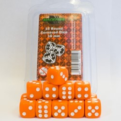 Dobbelstenen 16mm - Oranje (15 stuks)